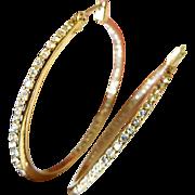 Signed-jeweled hoop -pierced Earrings