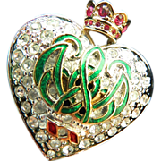 signed-Carollee-crown pin-jeweled