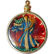colorized- 1934- Walking Liberty coin-Pendant
