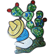 Excellent - Guilloche Enameled -Mexican silver pin