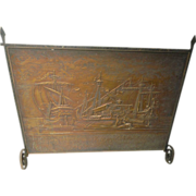 Large-raised gesso scenes and Cast iron Fire screen