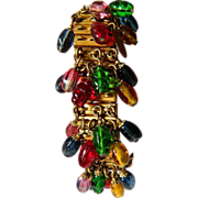 SALE Gorgeous-signed Miriam Haskell- Expandable bracelet with Glass stones