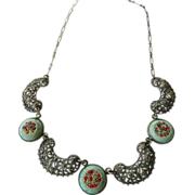 Intricate Linked panel necklace- Inlaid mosaic