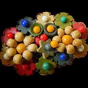 Wood and glass beads- Czech Pin- dress clip
