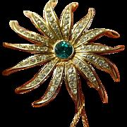 Fabulous- large signed Trifari Starburst pin- Original tag