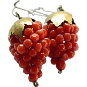 SALE Beautiful- natural Coral and gold- Grape earrings