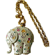 Fabulous- big elephant pendant -with Triple link chain