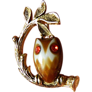Owl in a tree- Signed pin