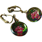 1930-1940s- Intaglio-reverse Painted- glass Orchid earrings