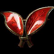David Andersen- Norway- enameled- Leaf pin- sterling