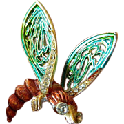 Enameled and jeweled- Fly-bug-Pin