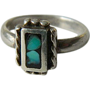 Petite-silver and Turquoise ring