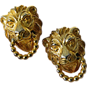 Signed Mimi D lion door knocker-Earrings