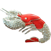 Sparkling- signed-Monet-Lobster pin