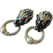 SALE Fabulous- Panther head-Jeweled and enameled-Earrings