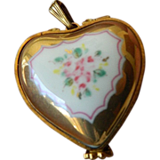 SALE Porcelain-Limoges-Heart locket-pendant