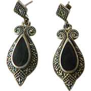 Onyx-Sterling and Marcasite earrings