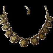 1940-1950's Damascene medallion Necklace