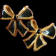 Enameled Bow earrings-KJL