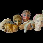 Vintage-hand carved- Marionette heads