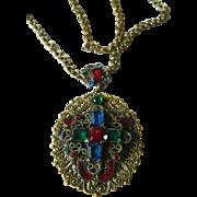 Enameled -glass stones Pendant-Brass chain