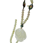 SALE Light and Dark jade- Cloisonne and silver bead and Carved necklace