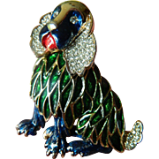 Very charming- Jeweled and enameled-signed Kramer Dog pin
