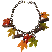 "Celluloid "" leaves and logs"" necklace"