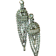 Gorgeous long and brilliant 1960's  Glass stone Earrings