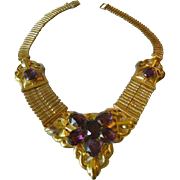 Stunning Book chain -glass Stones necklace late 1800's