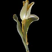 Enameled -one flower pin