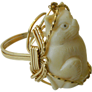 Hand carved Cat ring