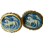 Exquisite incolay Cameo cuff links- signed Dante-