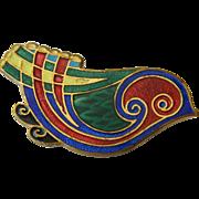 Enameled bird Pin