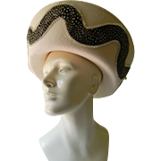 SALE Elegant- Jack McConnell wool felt and Feathers hat-SALE before removal