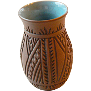 Exquisite- Mohawk vase- glazed and hand incised
