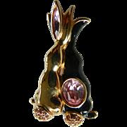Swarovski- entwined bunnies-Crystal stones pin