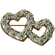 Double heart-Daisy Pin