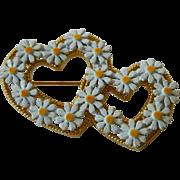 Double heart-Daisy Pin