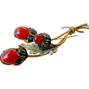 Large-glass stones Strawberry pin