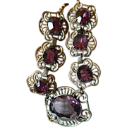 1900-1920-Glass amethyst stones-brass necklace