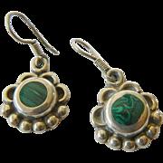 Mexican sterling silver/Malachite earrings
