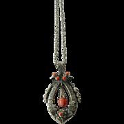 beautiful Victorian era-silver pendant-coral stones Pendant-Silver chain