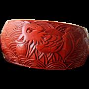 Big-Bold and very beautiful cinnabar bangle Bracelet