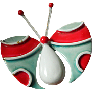 signed- enameled-Robert-butterfly Pin