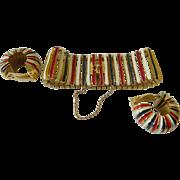 Lovely enameled 1950-1960's Clip earrings with Bracelet