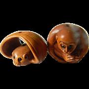 Hand carved Boxwood-Japanese ojime Beads
