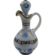 SOLD Blue Bohemian Czech Cranberry Overlay Cruet