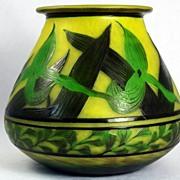 SOLD Beautiful Three Colour Delatte Cameo Vase