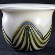 Charles Lotton Iridescent Pulled Pattern Vase